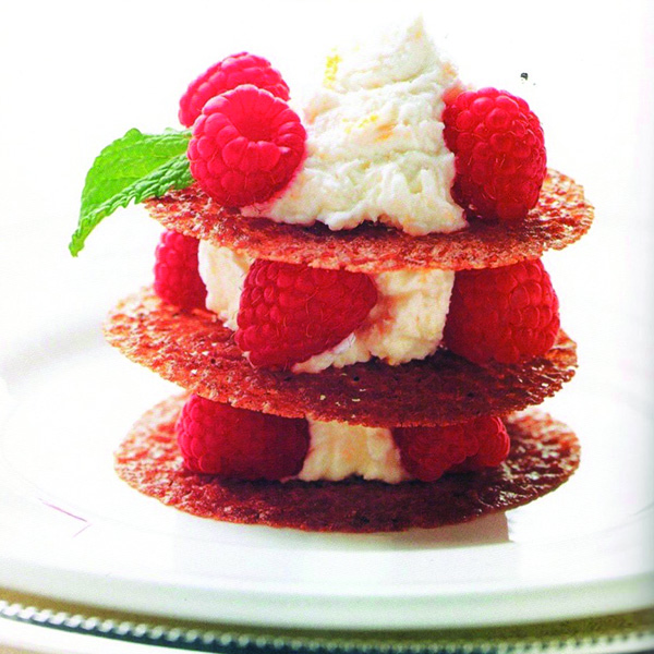 Lace Cookies with Orange Mascarpone and Raspberries