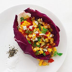 Corn Salad in Radicchio Cups